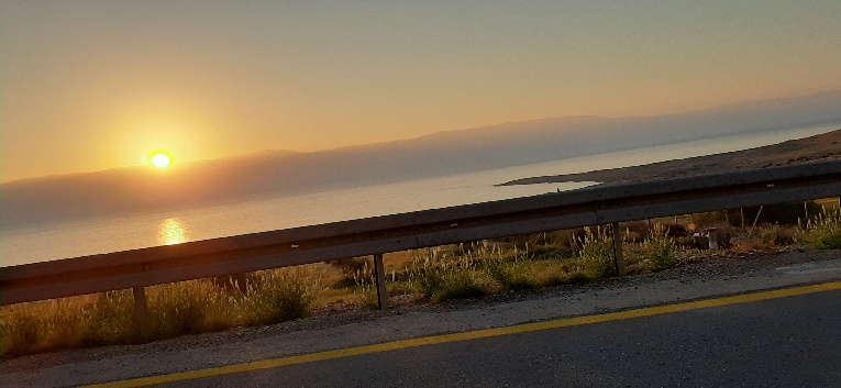 Sunrise over Jordan and Dead sea viwed from Route 90