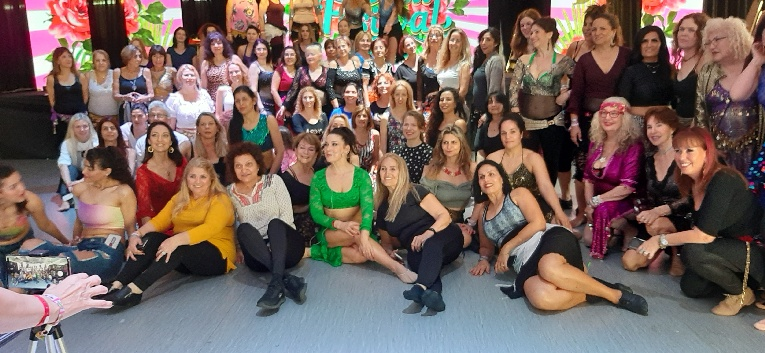 Aziza in group pic after workshop, Oriental Dance Festival, Eilat