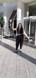 Posing in front of hotel's revolving doors, Oriental dance festival, Eilat