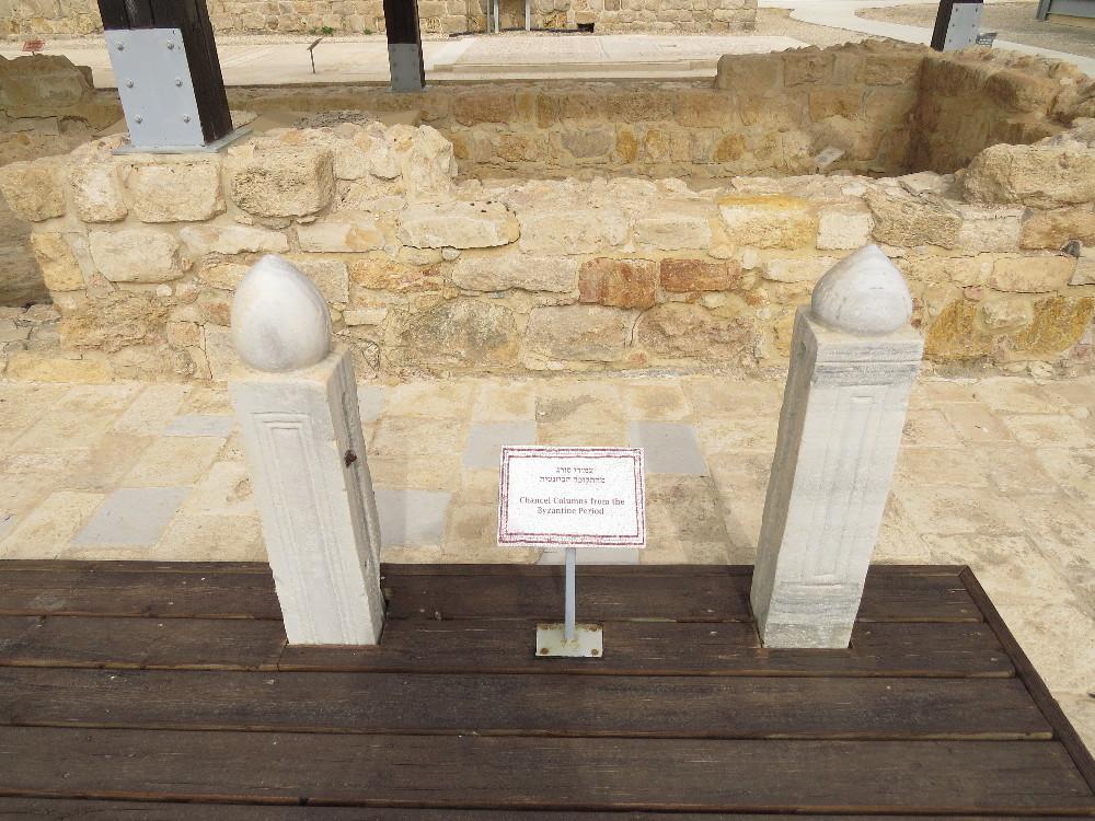 Chancel columns from the Bizantian church. Good Samaritan grounds