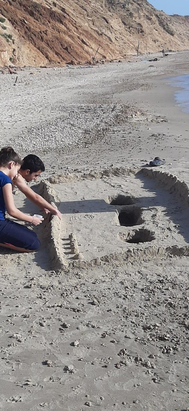 Children building castles