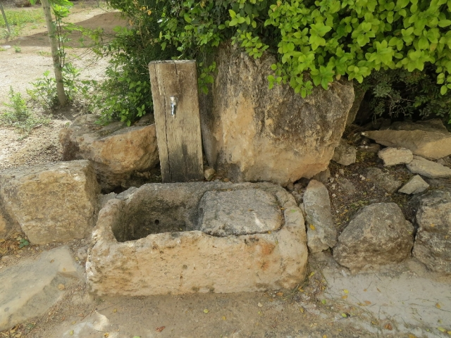 Faucet and stone drain. Beit Guvrin National Park