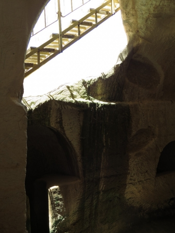 Light and shade patterns. Oil Press Cave. Beit Guvrin