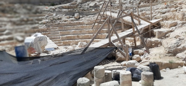 The Royal Theatre at Herodium National Park under reonstruction