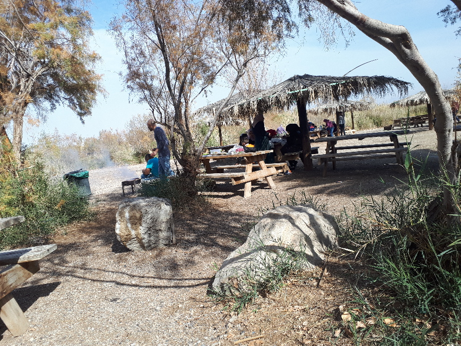 Arab family having a Mangal (BBQ) at Einot Tzukim Nature Reserve