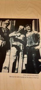 Ben Gurion and friends at door of hut. Sde Boker