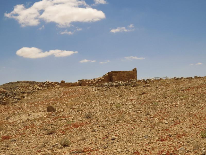 Mamshit ruins set against the desert backdrop