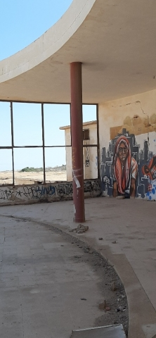 Mural in abandoned British camp. Lido