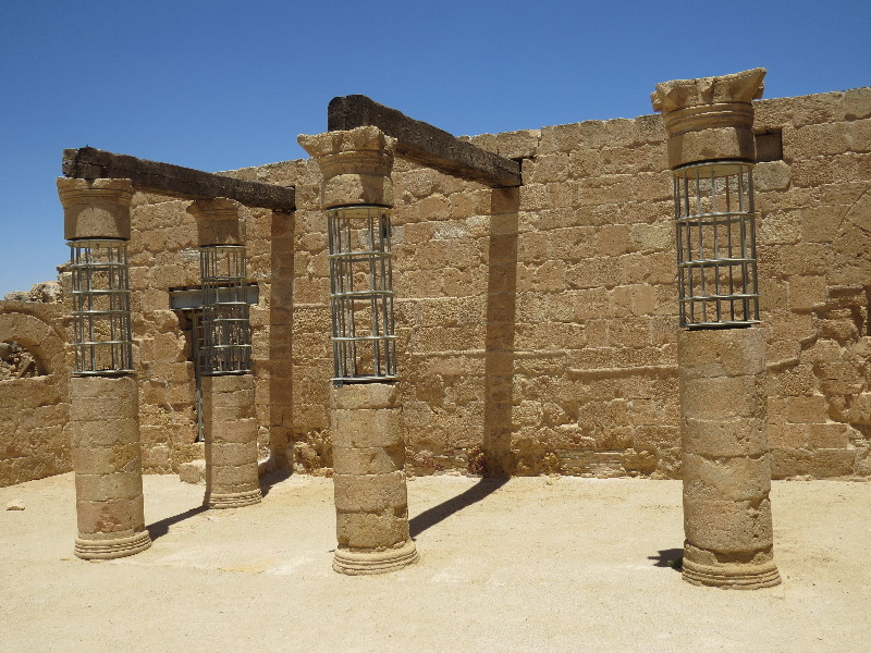 Reconstructed columns at Nabaru house. Mamshit National Park