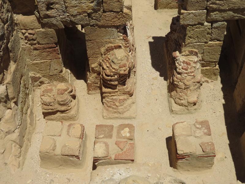 Red bricks furnace in Roman style bathouse. Mamshit National Park