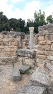 Ela peeping over ancient wall with impressive pillar. Agrippa Palace. Banias