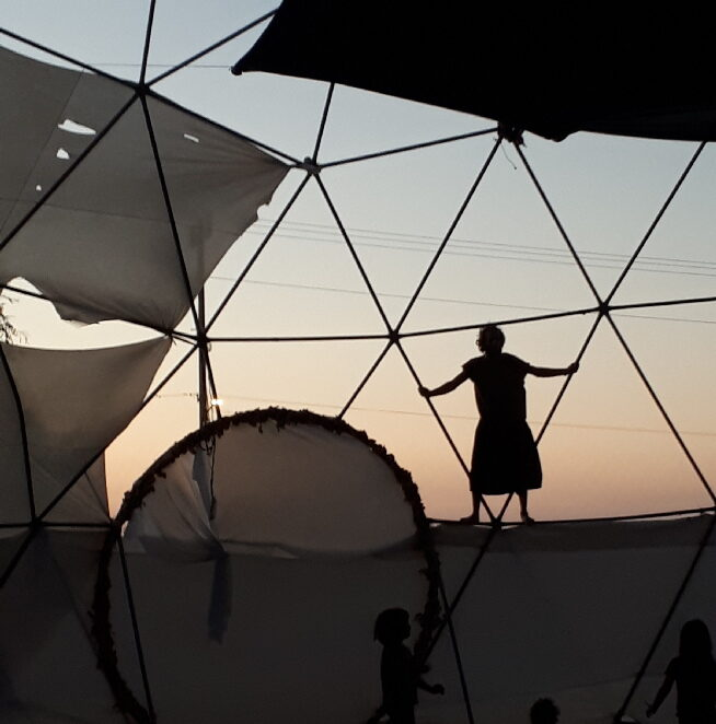 Yashar on top of the dome. Me'ever. Mama Africa Festival, 2019