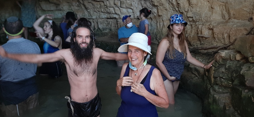 Me and Yashar wading the Ein Sapir spring with vacationers