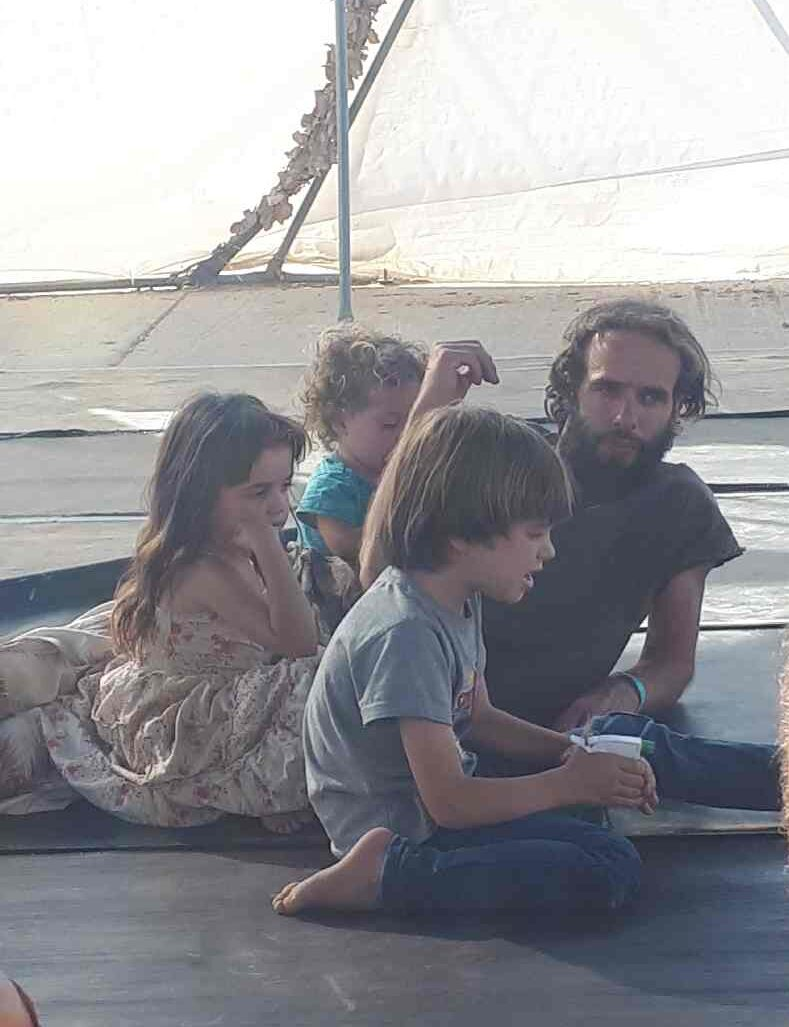 Yashar with his kids in the dome. Mama Africa Festival, Me'ever