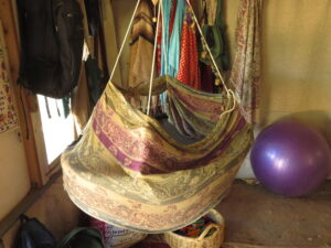 The babies' cradle at Yashar and Sofia's tent