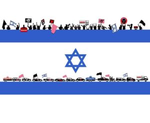 Israel protests flag