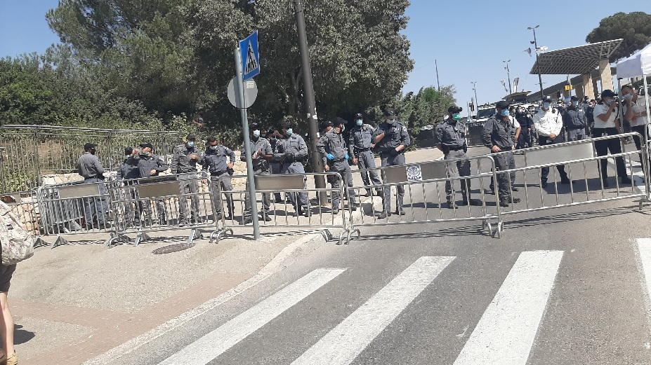 Knesset protest. Police on the alert