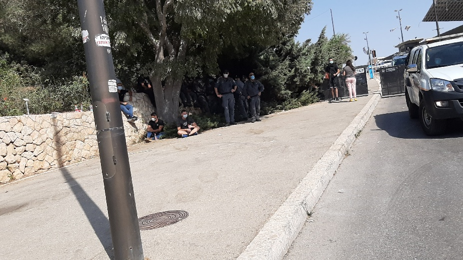 Knesset protest. Police in seemingly quiet mode, preparing for action.