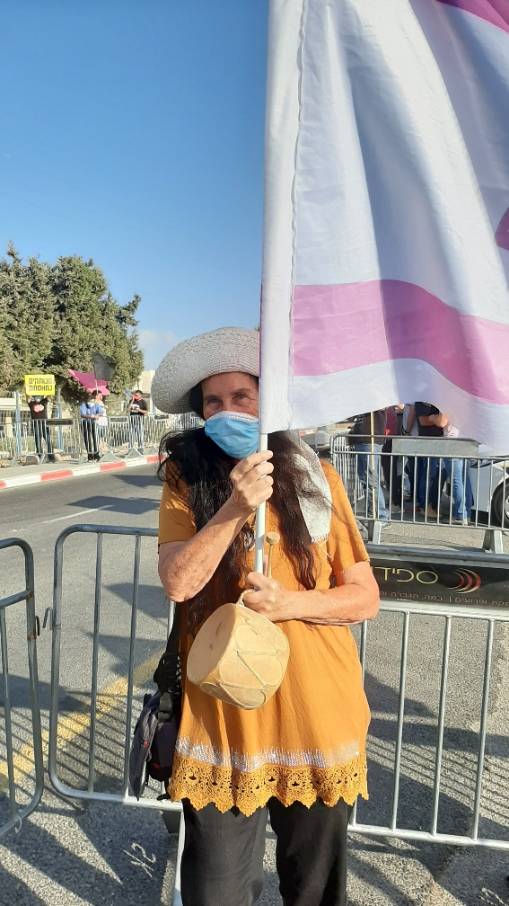 With the pink flag at Neve Ilan media headquarters